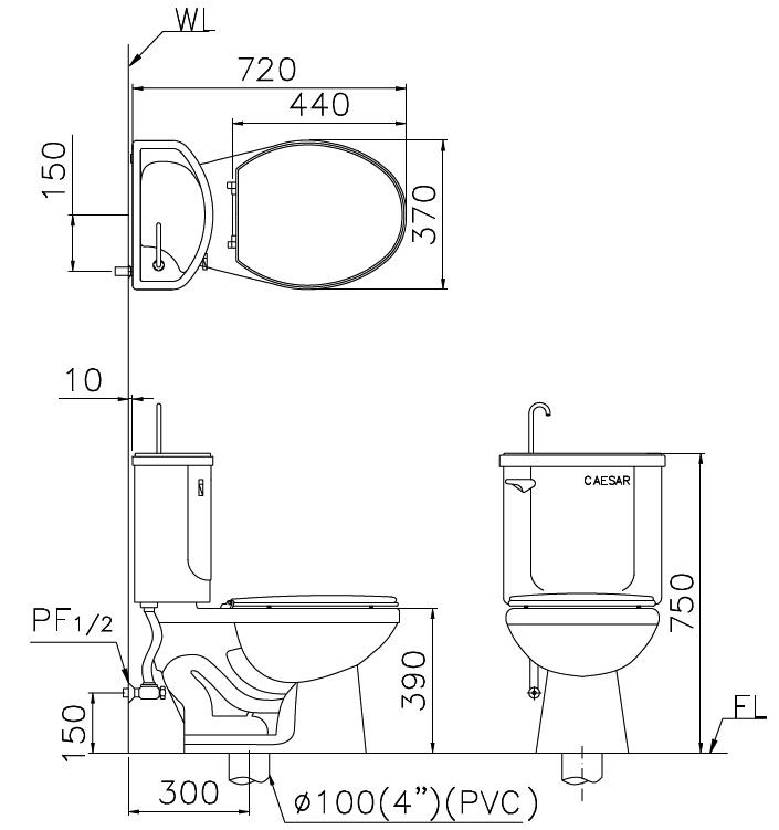 凯撒之马桶的水箱零件及马桶盖均已於厂中安装完成